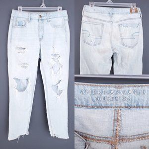 AMERICAN EAGLE Mom Jeans Distressed Light High